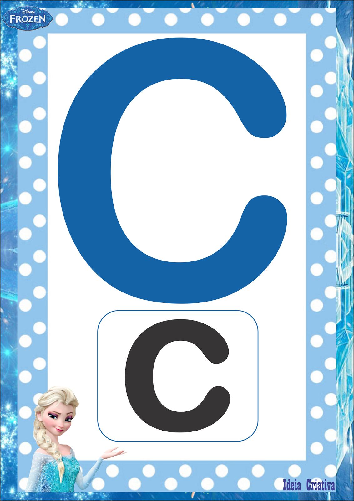 Alfabeto Frozen Sem Figuras Letra Bastão Maiúscula e Minúscula para Imprimir Grátis