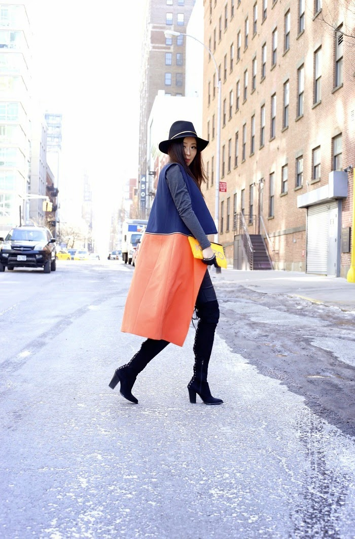 Trouve colorblock long vest, Janessa leone Stephen hat, joes jeans, steve madden over the knee boots, fashion blog, how to wear long vest, kenzo clutch, nyc, streetstyle