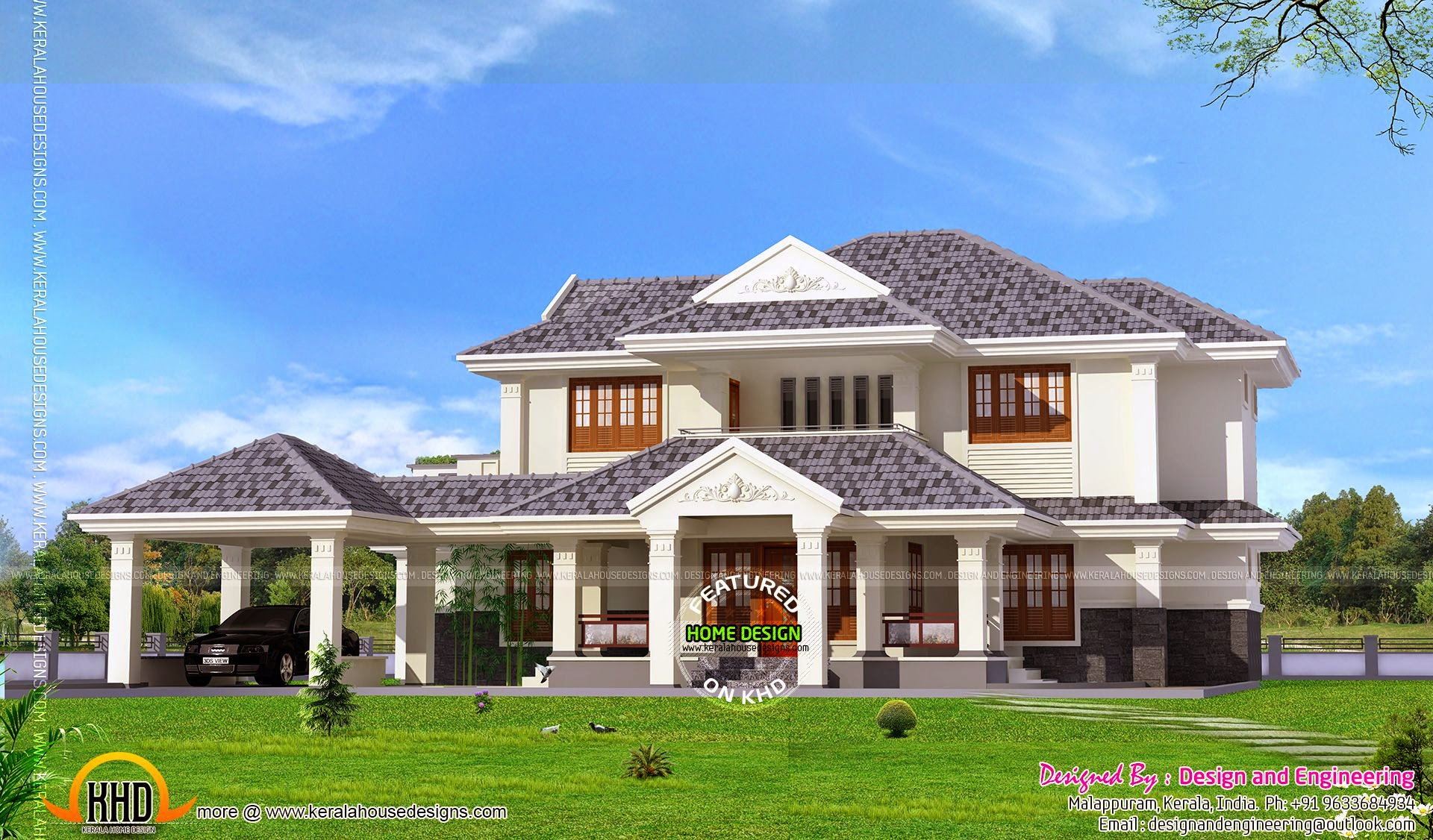 Kerala style 4 bedroom villa kerala home design and for Four bedroom kerala house plans