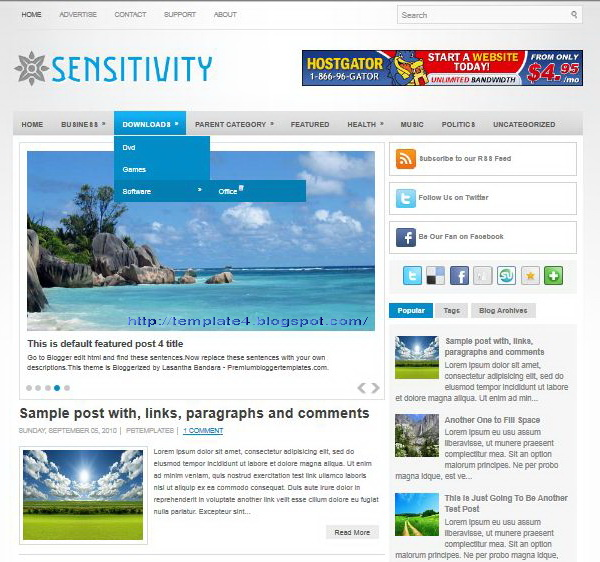 Sensitivity Blogger Template