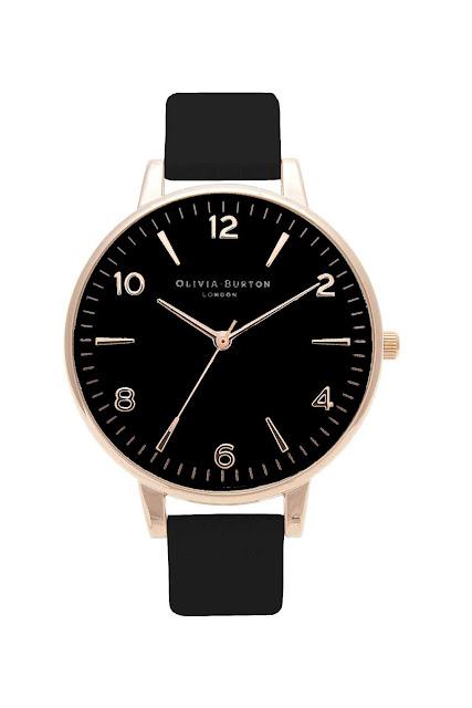 black faced rose gold watch, olivia burton black watch,