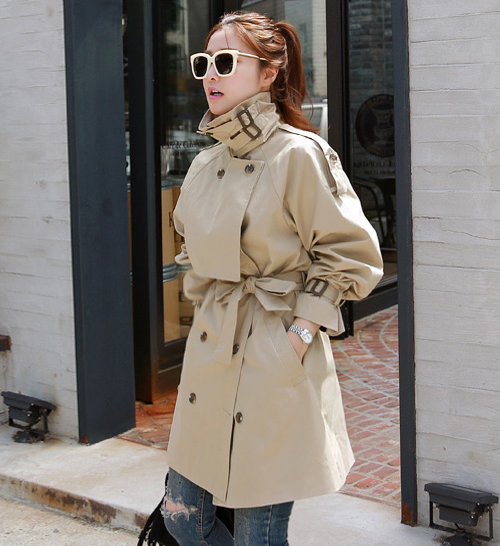 Earth Tone Funnel Neck Trench Coat