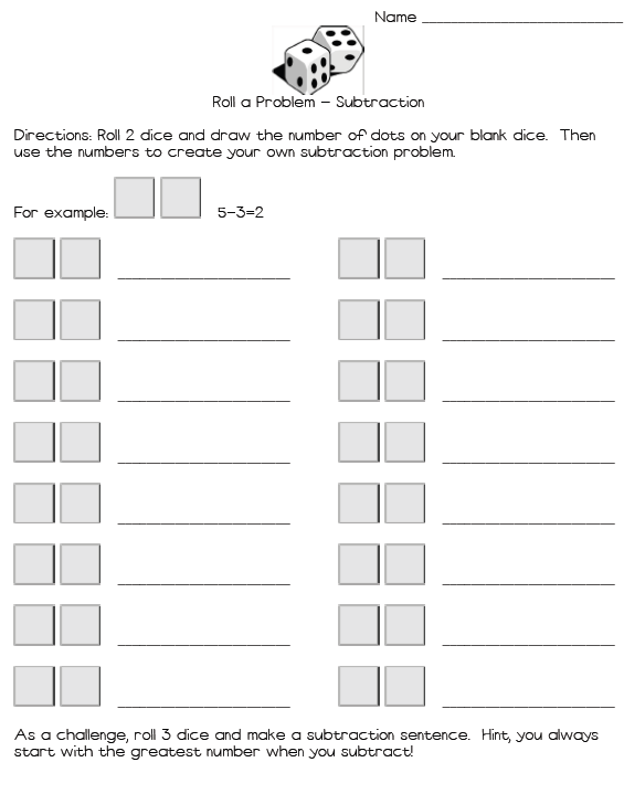 Cuddle Bugs Teaching: Addition and Subtraction Review with Dice