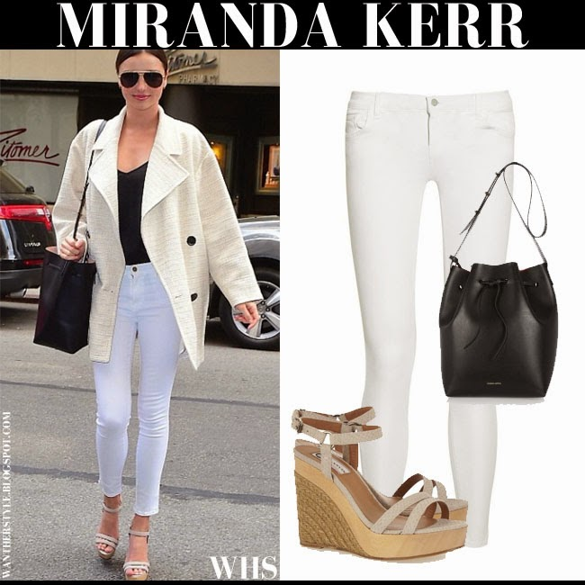 Miranda Kerr in cream coat with white skinny J Brand 811 jeans and wedge Lanvin sandals what she wore may 4 spring chic outfit