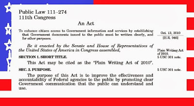 beginning of plain language act, against American flag background