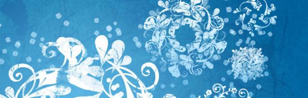 レースのような丸い形のキレイ系花ブラシセット | 花や草がモチーフのフリーブラシ。商用可。