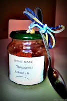 Tandoori Masala in a reused, labelled glass jar