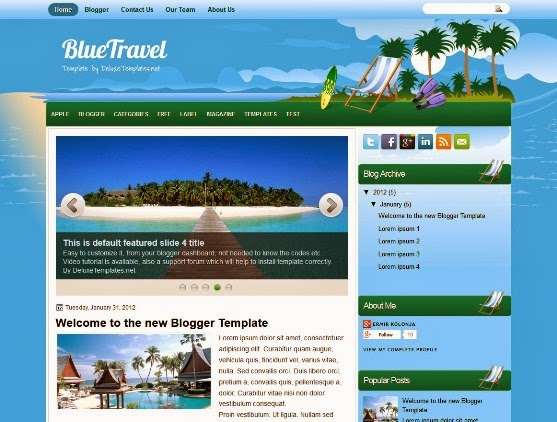 BlueTravel Blogger Template