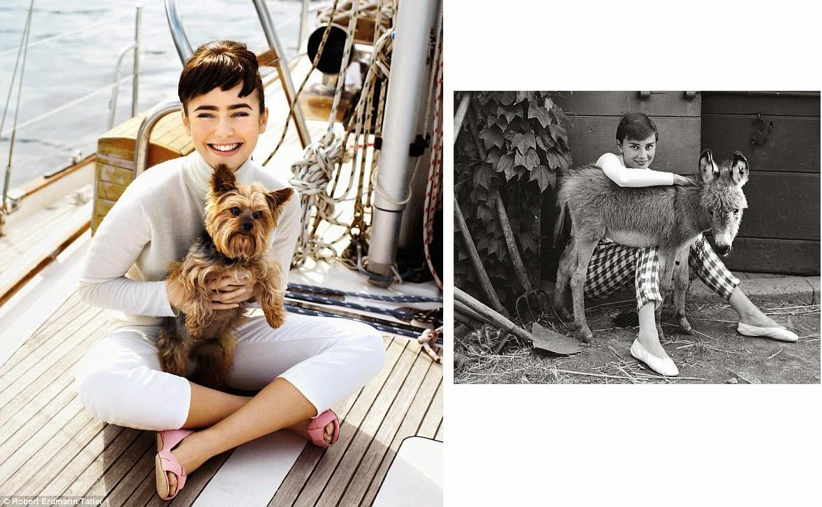 Lily Collins Channels Audrey Hepburn Lily Collins Audrey Hepburn