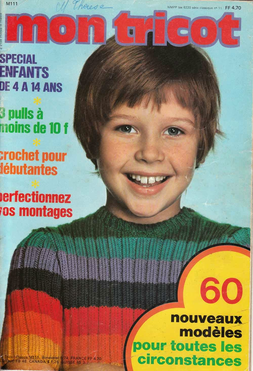 Tricot Knitting Patterns 1970's Knitting Tricot Pour
