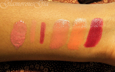 Review and swatches of sephora lips From left to right: lip gloss 22 shimmery deep rose, lipliner 14 radiant rosy, lipliner 09 pleasant plum, lipstick G17, G03, R23.