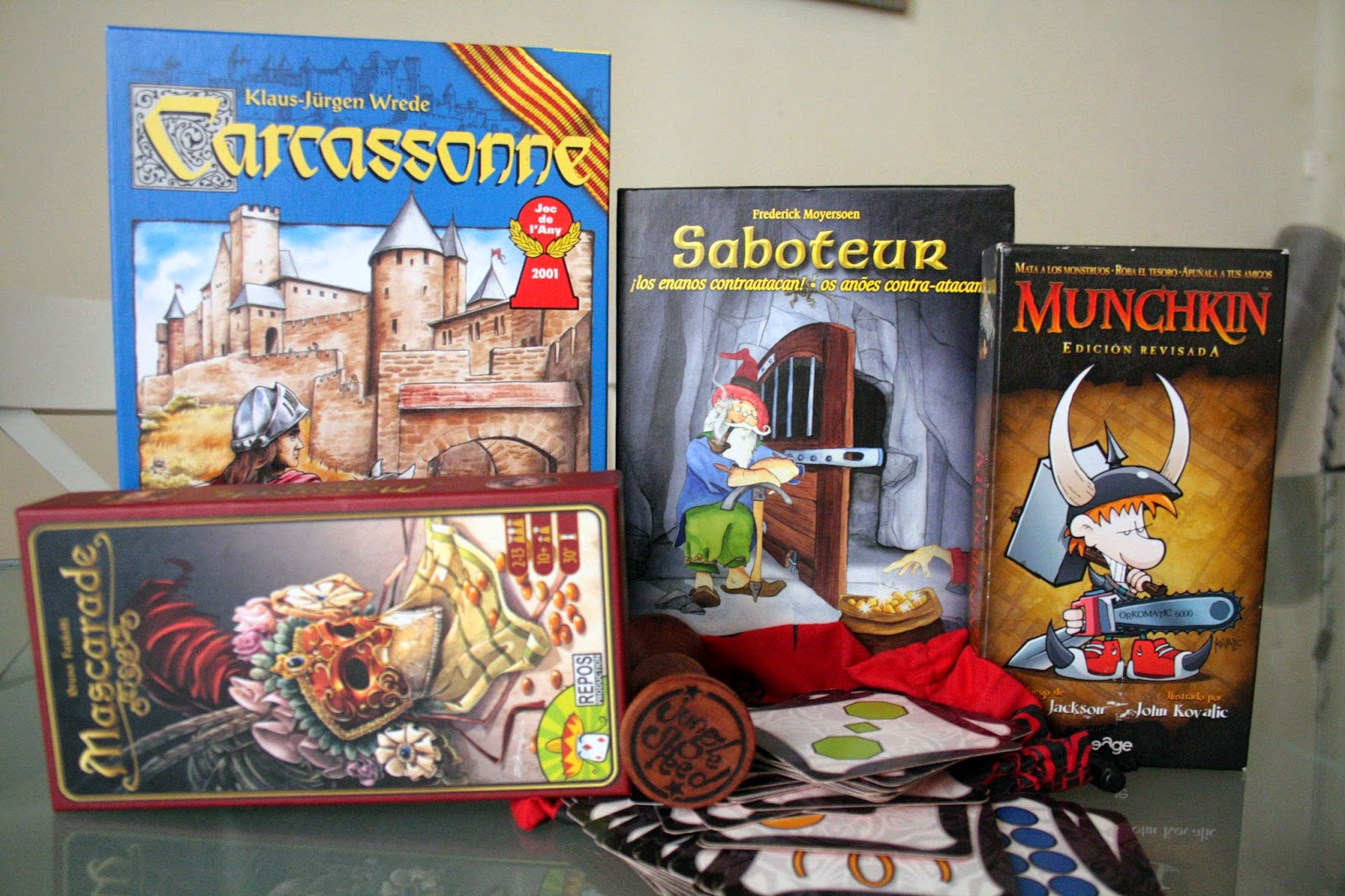The most amazing and fun board games! Carcassone Saboteur Munchkin Mascarade and Jungle Speed