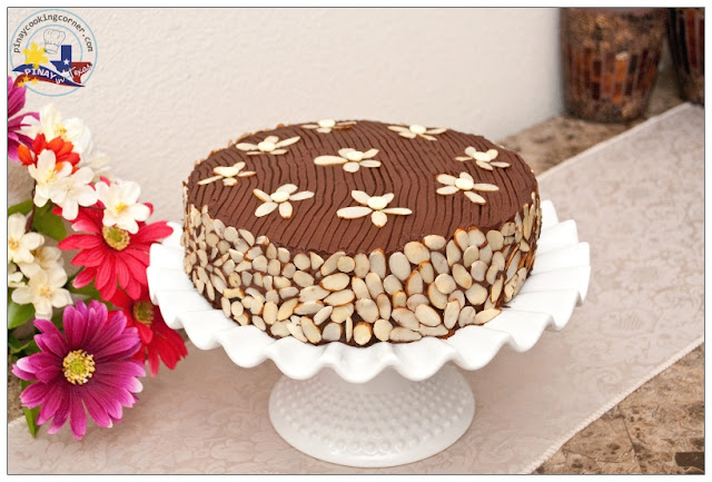 this is a chocolate almond cake with chocolate icing and