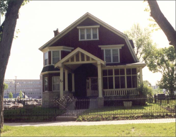 West facade of Milner House, 1992. Photo courtesy of the City of Winnipeg Historical Report.