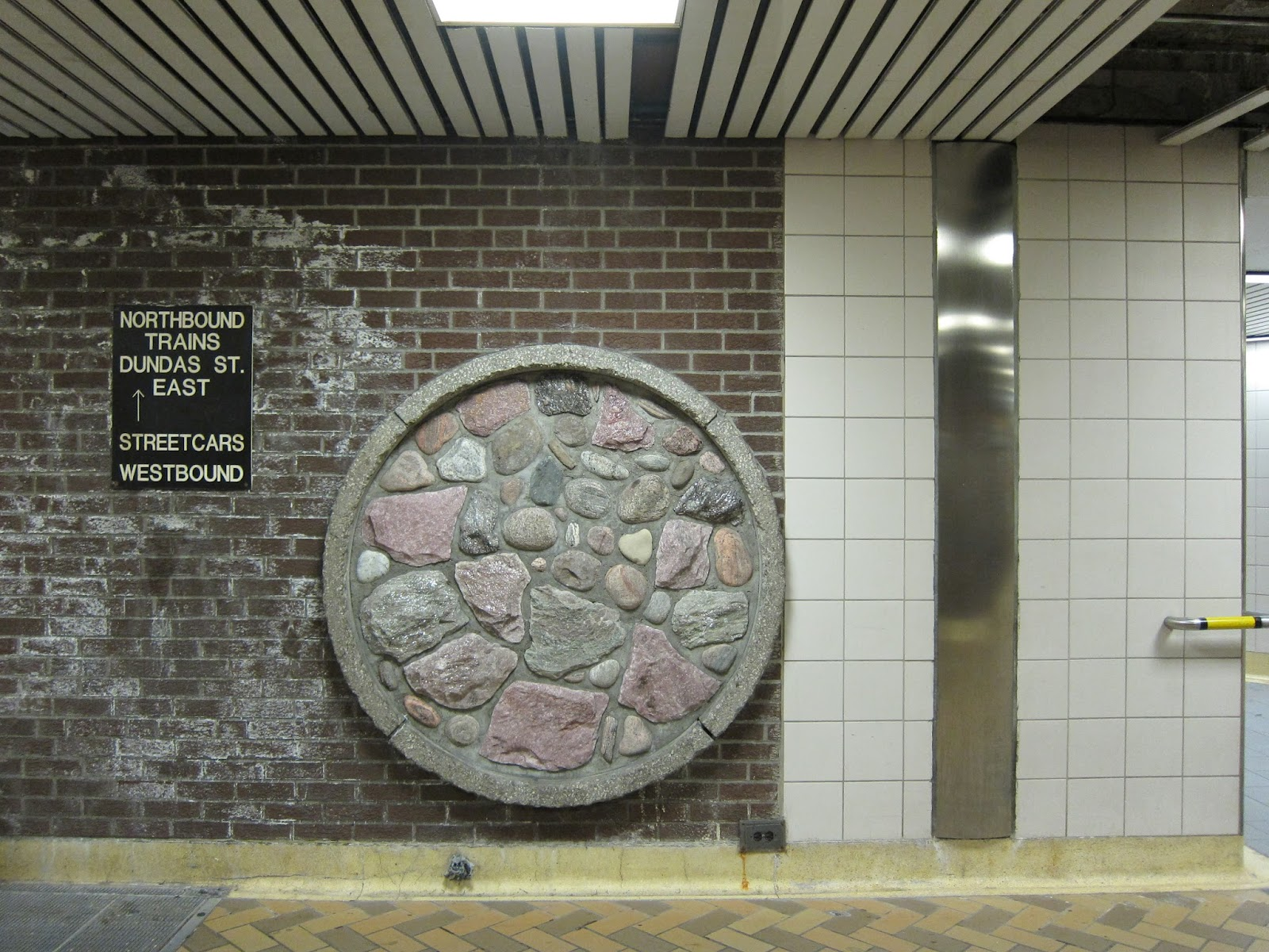 Rock decoration at Dundas station