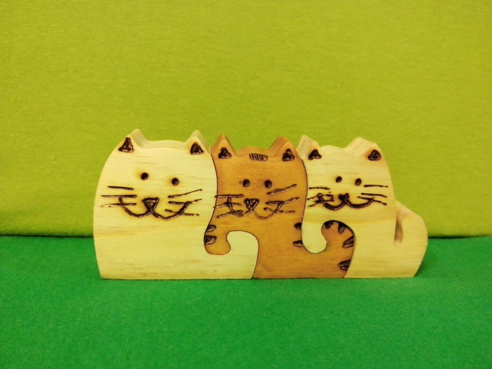 escultura de gatos encaixe madeira brasilia df