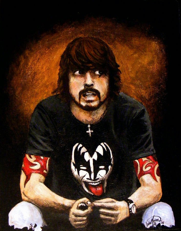 fan art of dave grohl with kiss tshirt