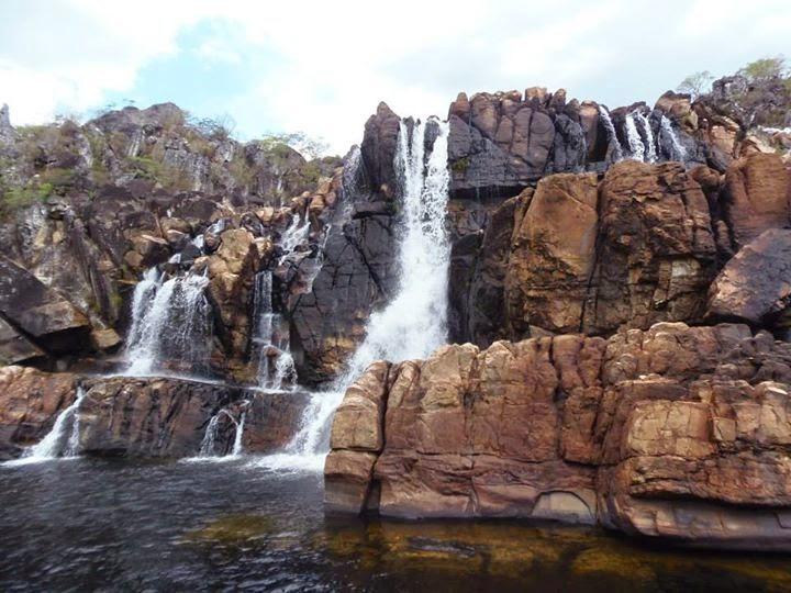 Cachoeira Carioquinhas na época da Seca, ótima opção para banho na Chapada dos Veadeiros