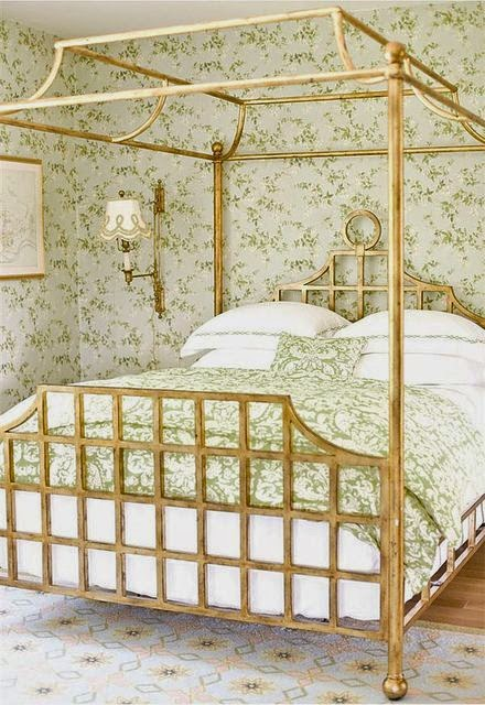 gold metal four poster canopy bed
