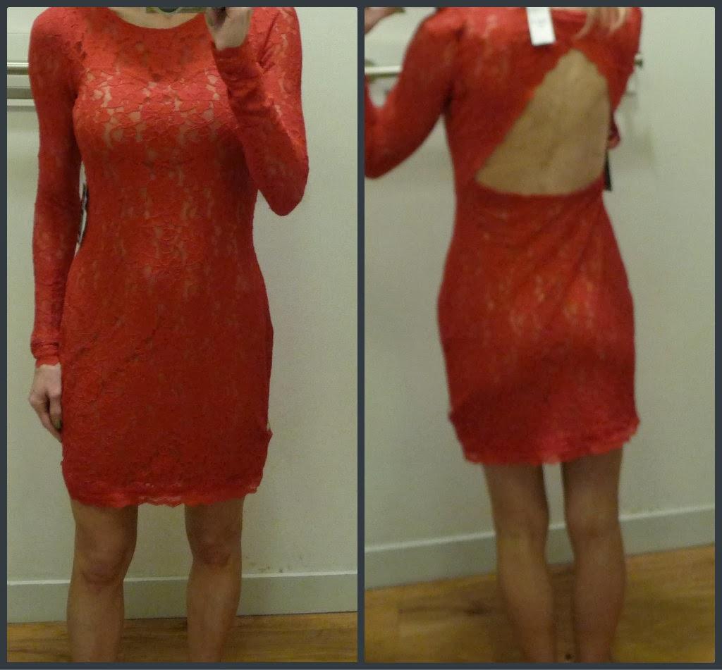 Express open back lace sheath dress