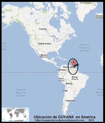 Ubicación de GUYANA en América, Google Maps