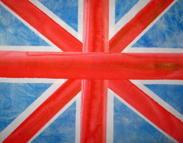 hand painted fabric union jack