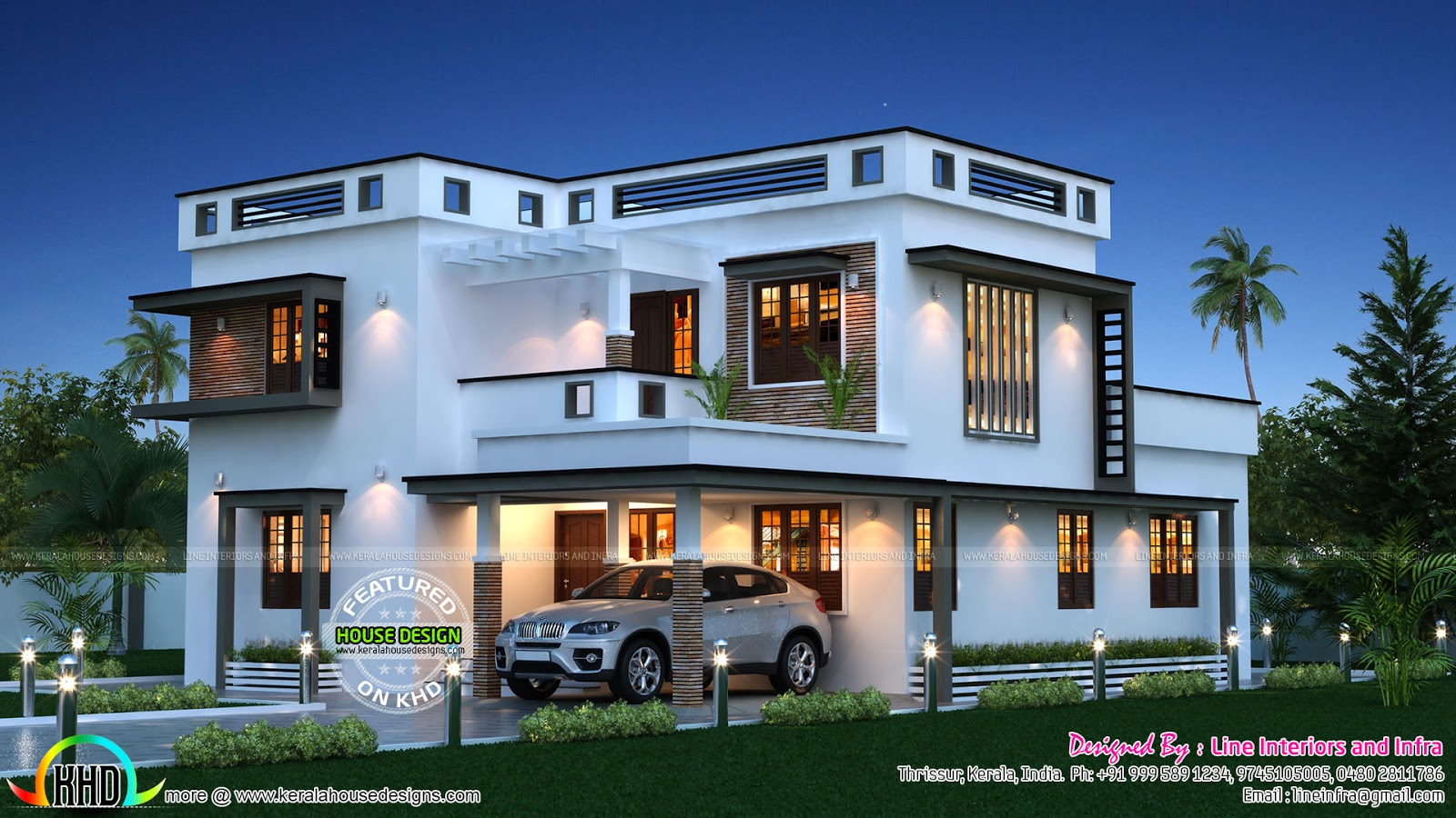 Beautiful 1600 sq ft home kerala home design and floor plans for Modern house 2 floor