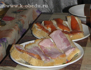 Бутерброды с беконом и бутерброды с сёмгой