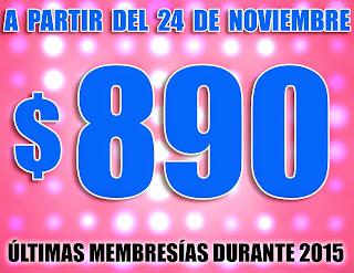 A PARTIR DEL 24 DE NOV. TU MEMBRESIA COSTARÁ MX$ 890 PESOS