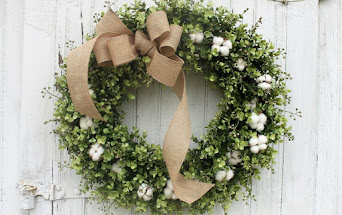 Cotton and Boxwood Wreath