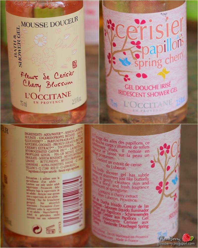 L'occitane recommendations shower oil gel cream body flowers fruits amande almonds cherry לוקסיאן לאוקסיטן רחצה שמן קרם ג'ל גוף סבון מומלצים המלצות דובדבון שקד פירות פרחים פילינג cherry blossom spring cherry דובדבן