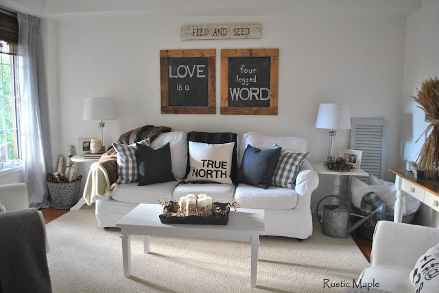 Rustic maple our neutral fall living room tour for Black and neutral living room