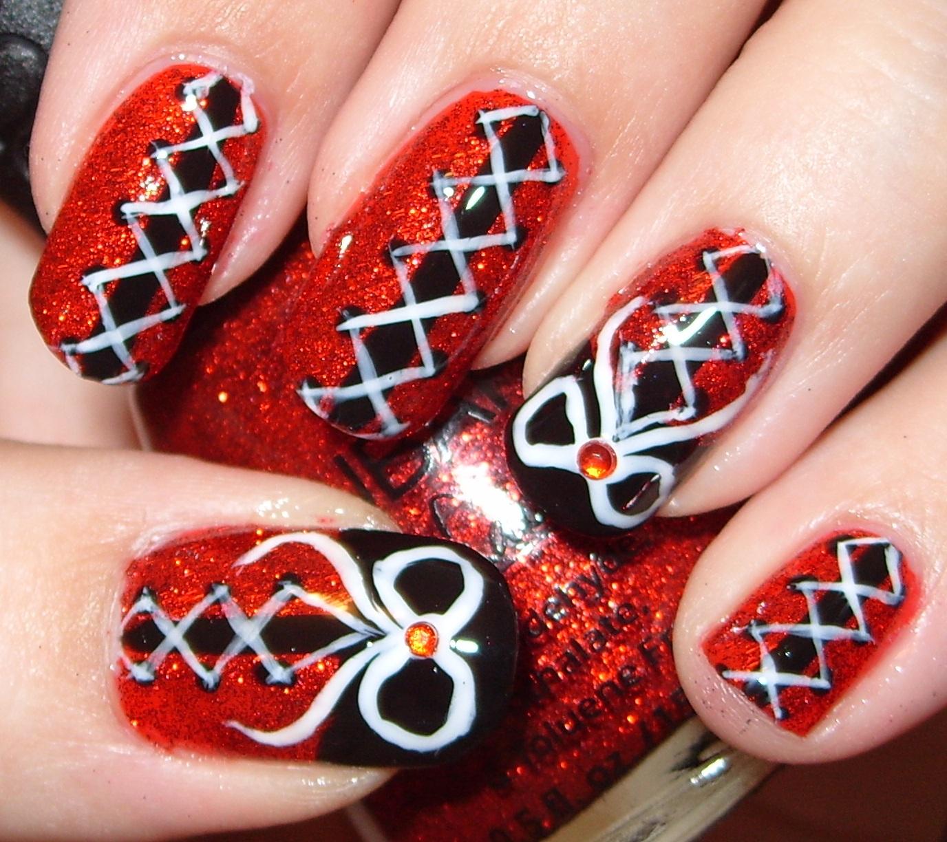 sharihearts: Black & Red Corset Nail Art