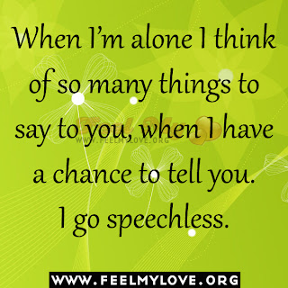 When I'm alone I think of so many things to say to you