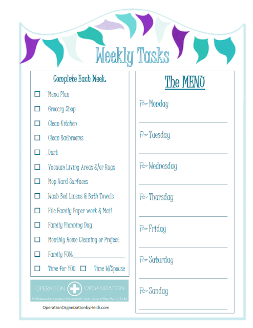 'WEEKLY TASKS' Checklist - Check out the FREE printable Home Management checklists that Professional Organizer,  Operation Organization by Heidi has available!