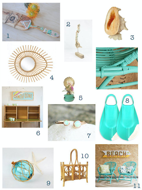 millie,lagon des mers du sud,shopping list,guide shopping,inspiration,lovmint,everything old is new,kok,miroir en rotin,rotin,bijoux,opale,satine,daphnia,palmes,vintage