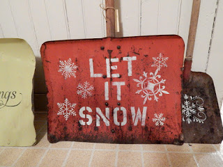 stenciled snow shovels - featured at KnickofTime.net