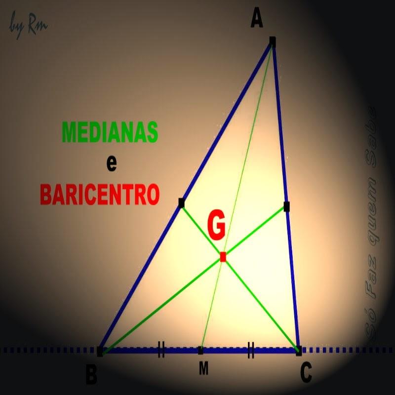 O cruzamento das medianas de um triângulo gera o ponto notável chamado Baricentro.