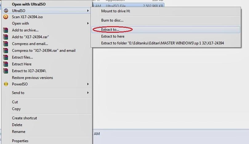 exktrak+iso cara membuat flashdisk boot Untuk windows 7 atau windows 8