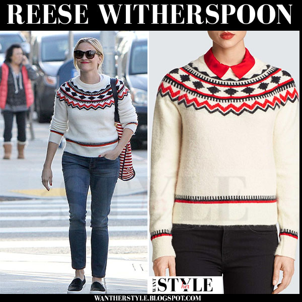Reese Witherspoon in white fairisle knit sweater draper james fontaine what she wore winter style