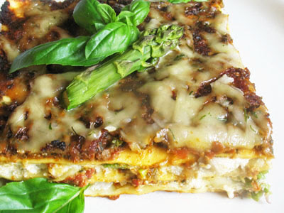Asparagus Pesto Lasagna with Mushrooms