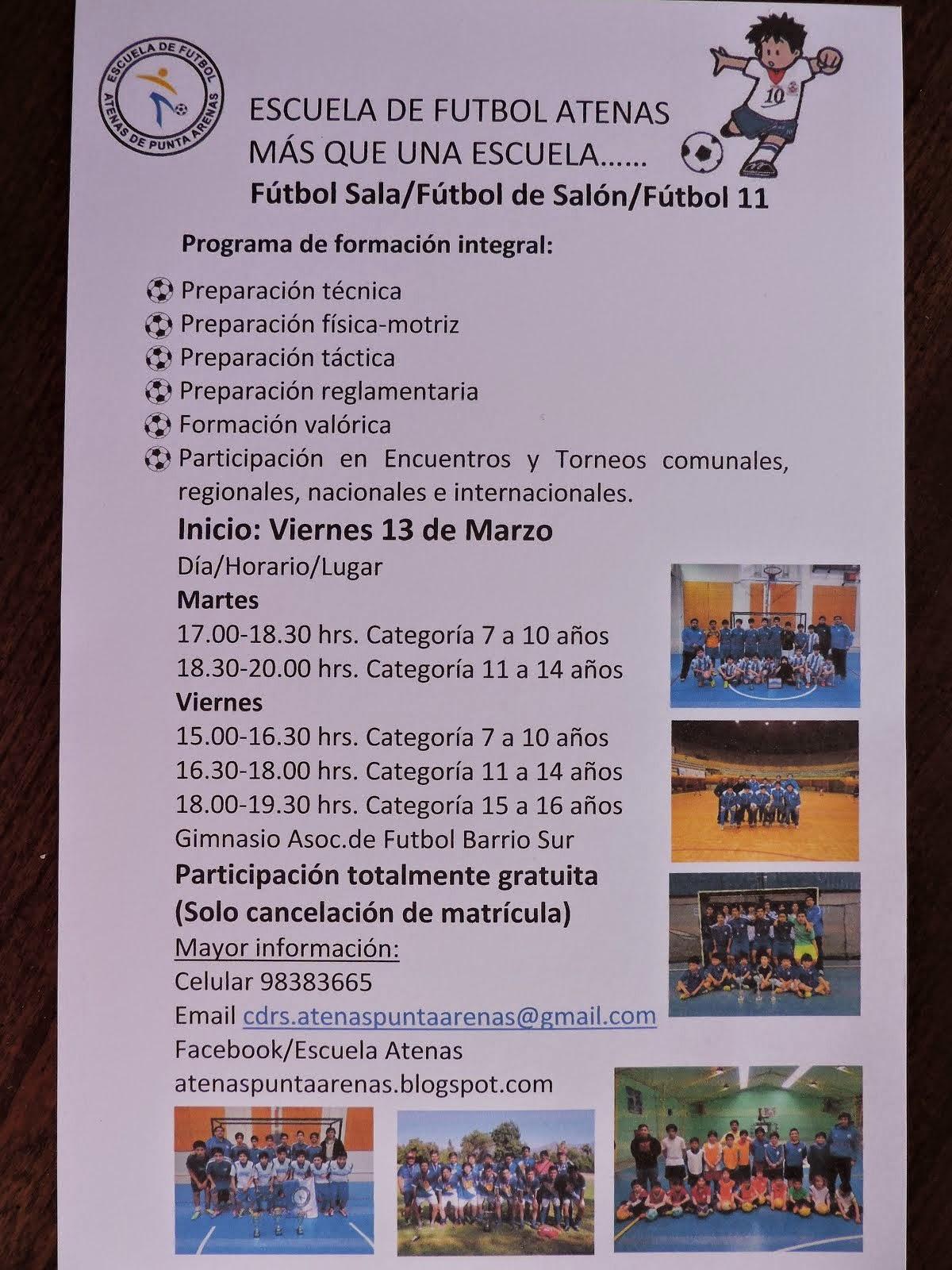 COMIENZAN LAS ACTIVIDADES DE LA EFS ATENAS TEMPORADA 2015.