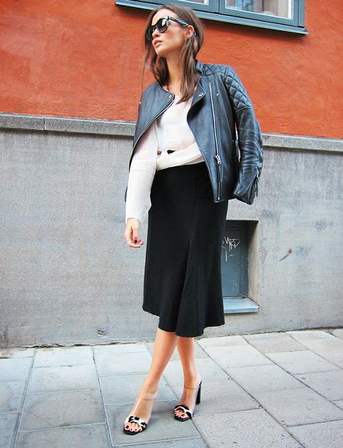Black leather jacket with black skirt for fall