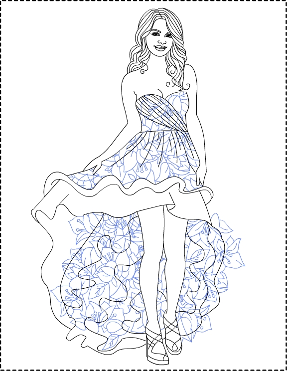 Pictures To Color: Selena Gomez *** Coloring pages
