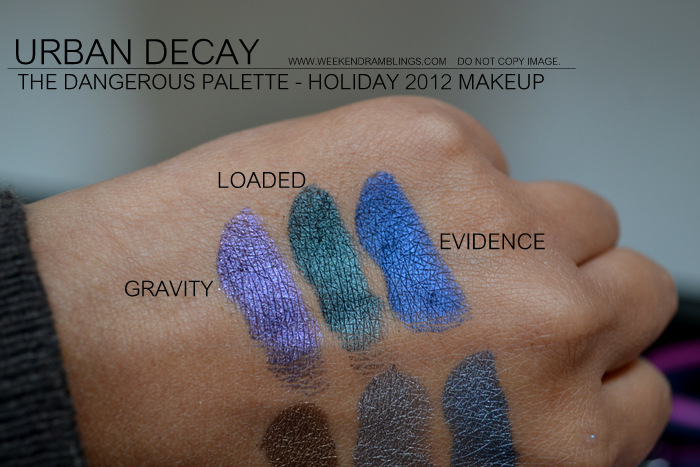urban decay dangerous eyeshadows palette swatches indian makeup beauty blog holiday 2012 collection gravity deeper mushroom ace loaded evidence