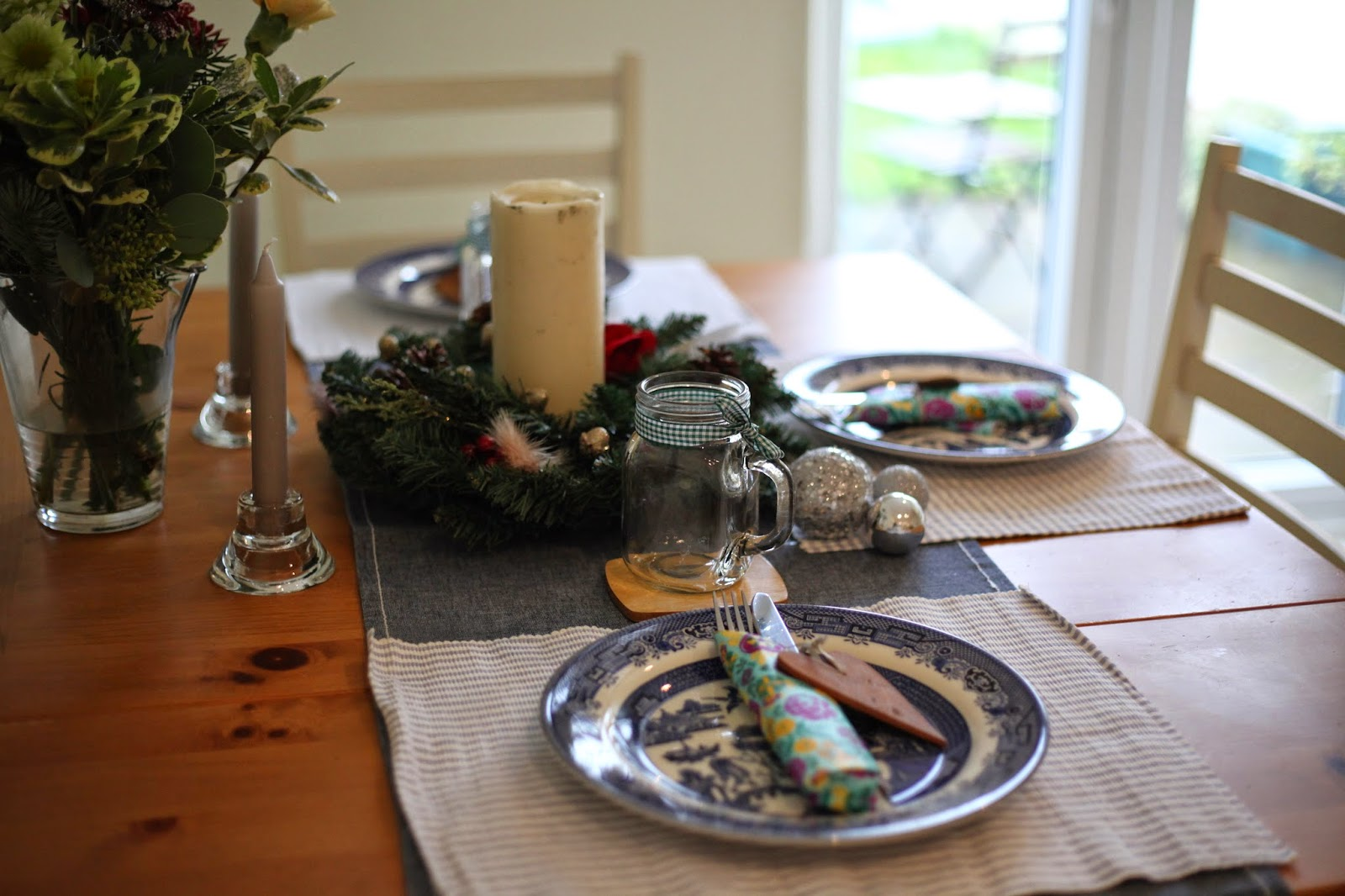 Setting the Christmas table