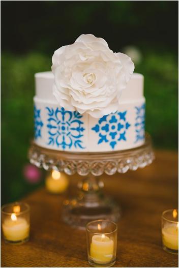 Elegant Spanish-tile inspired wedding cake by RooneyGirl BakeShop