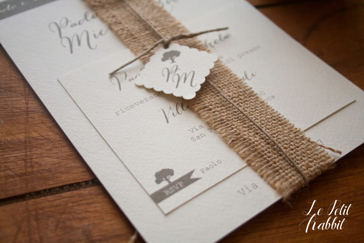 Inviti Matrimonio Country Chic : Le petit rabbit aprile