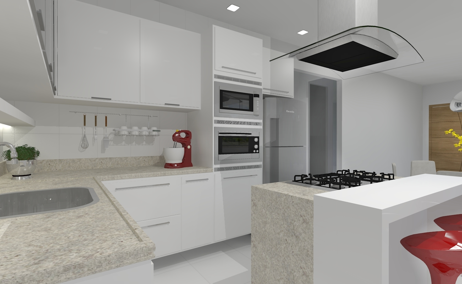 Esta cozinha desenhada é o 3D de uma planta baixa. A moradora queria  #7C3834 1470 904