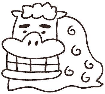 獅子舞のイラスト(お正月) 線画